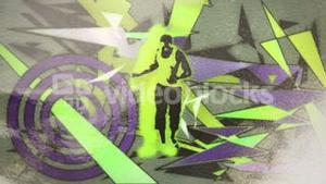 Hand spray painting funky dancing man design