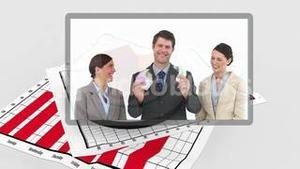 Futuristic interface showing business people scenes with graph on background
