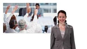 Business woman showing screen with business meeting