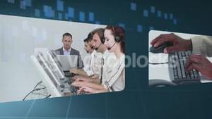 Futuristic montage of screens showing business people at work
