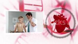 Montage of doctors with heart diagram on background
