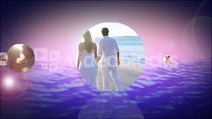 Romantic montage of couples at the beach