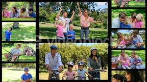 Montage of families having fun in the park
