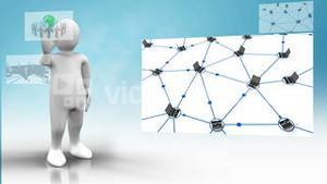 White figure giving presentation about global connectivity