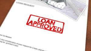 Animated stamp spelling out loan approved