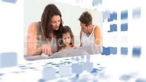 Montage of families reading together