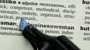 Businesswoman highlighted in blue