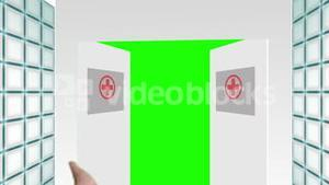 Animation with a doctor welcoming you through hospital doors
