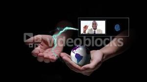 Hand presenting business people videos in his hands
