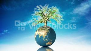 Globe spinning with tree
