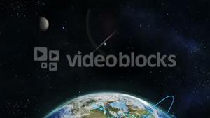 Montage of globe earth and satellites