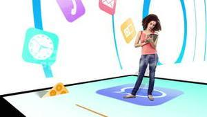 Girl walking on and using tablet pc with holographic application icons