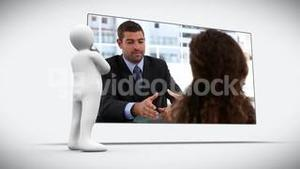 3D character looking at two speaking business people