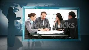 Animation of business people at meeting