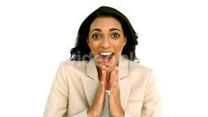 Businesswoman clapping with excitement