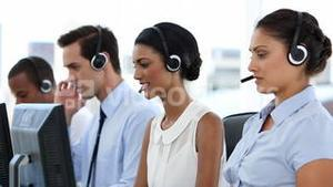 Business people at call centre