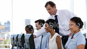 Businessman explaining the work to his employees