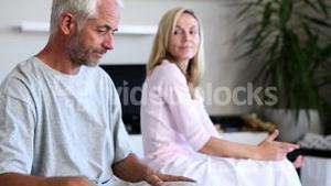 Mature couple arguing with each other