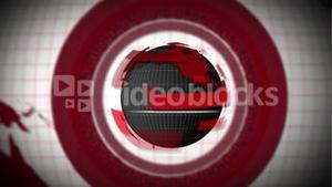 Red globe earth spinning with circles around