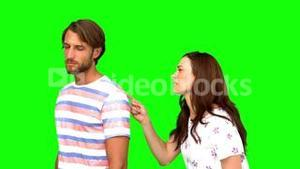 Couple arguing on green screen