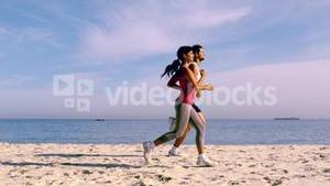 Fit couple running together