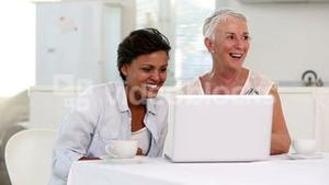 Two mature women looking at laptop