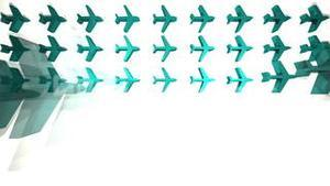 Blue airplanes appearing in a grid animation