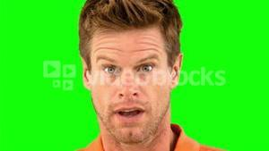 Man showing his astonishment on green screen