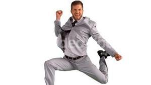 Excited businessman jumping and cheering