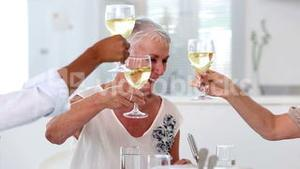 Friends enjoying lunch together and raising their glasses