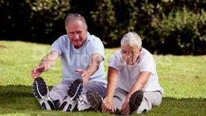 Mature couple stretching on the grass