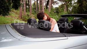 Romantic couple kissing in a car