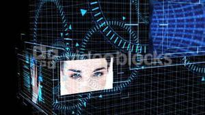 Futuristic animation showing screens with computing scenes