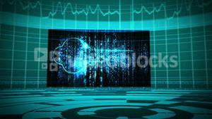 Futuristic animation showing screens with padlock