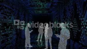 Digital animation showing business people silhouettes