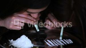 Friends snorting cocaine