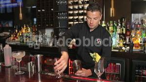 Handsome bartender shaking drink in a cocktail shaker