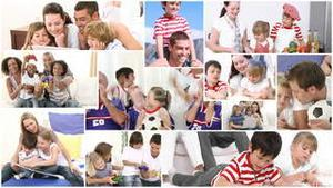Montage of families doing various things