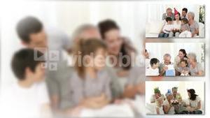 Montage of two lively families celebrating christmas