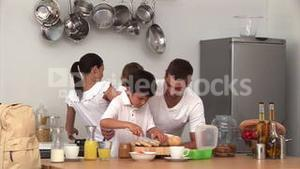 Animation of a family preparing breakfast