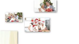Montage of cute families celebrating christmas