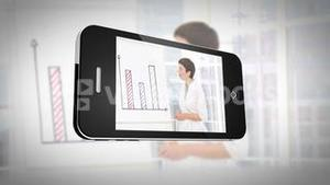 Smartphone displaying business people at work