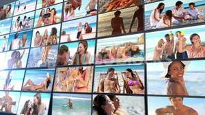 Short clips showing people on the beach