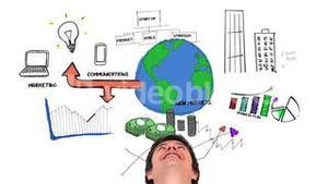 Colored animation showing business plan and a content man