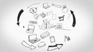 Black white animation showing man having ideas and business plan