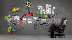Businessman sitting in front of animated business plan