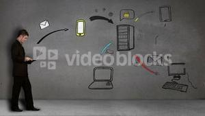 Animation of businessman sending mail developing a business plan