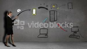 Animation of businesswoman sending mail developing a business plan