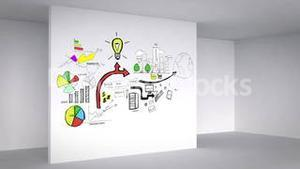 Colored animation showing 3d room and business plan