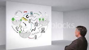 Colored animation showing 3d room and global influences and man watching